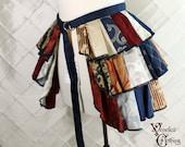 "Steampunk Ruffle Bustle Top Skirt - 3 Layer, Sz. M - Red, Ivory, & Blue Patchwork - Fits 27""-60"" Waist or Upper Hip"