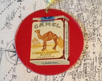 Tin fan pull Camel Winston cigarette advertising vintage fan pull great graphics