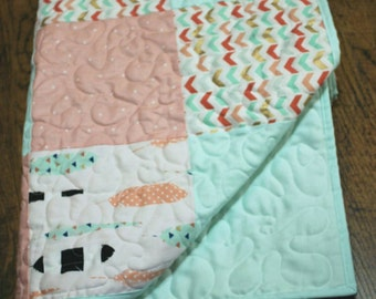 Baby quilt is featured in shades of mint,coral,Baby bedding,baby boy quilt,patchwork Crib quilt,toddler,chevrons,dots, feathers