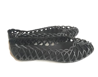 90s Black Jelly Sandals Shoes