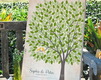 Wedding Tree Signature GuestBook, Custom Wedding Anniversary Tree Guest Book, Personalized Love Birds Poster, 50-300 Guests, Canvas or Print