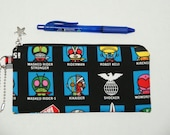 """Padded Zipper Pouch / Pencil Case / Cosmetic Bag Made with Japanese Cotton Oxford Fabric """"Japanese Sentai Heroes - Kamen RIder/Kikaida"""""""
