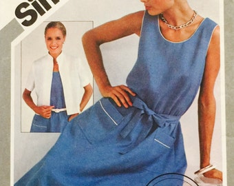 Simplicity 5363 Misses' Fast and Fabulous Pullover Dress and Unlined Jacket Pattern, UNCUT, Size 10-12-14, Sleeveless Dress, 1981