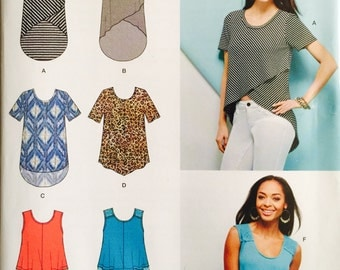 Simplicity SO819/1160, Size XX Small, X Small, Small, Medium, Large, X Large, XX Large, Knits Only Misses' Tops Pattern, UNCUT, 2015
