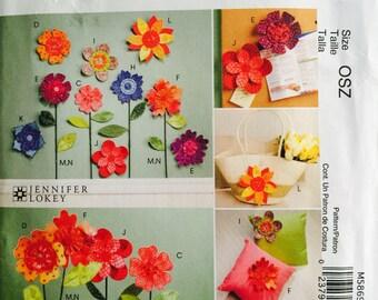 McCall's Crafts M5869 Dimensional Flowers Pattern, UNCUT, 2009, Pincushion, Embellishments, Pillow, Home Decor