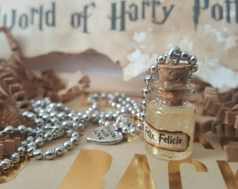 Harry Potter Necklace With Miniature Vial Of Felix Felicis Potion