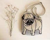 Leather Pug Purse Beige Dog Bag