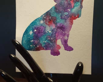 French bulldog watercolor galaxy painting