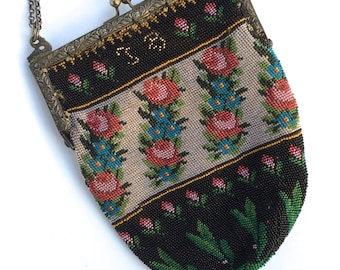 Victorian Micro Beaded Purse with Silver Frame