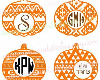 Aztec Pumpkins SVG - Aztec SVG - Monogram Frames SVG - Digital Cutting File - Silhouette Cut - Instant Download - Svg, Dxf, Jpg, Eps, Png