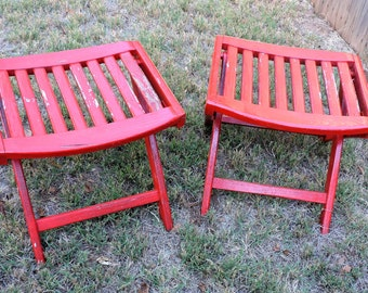 Pair Wooden Stools Chippy Red Painted Collapsible Wood Camping Chairs Rustic Farmhouse Outdoor Yard