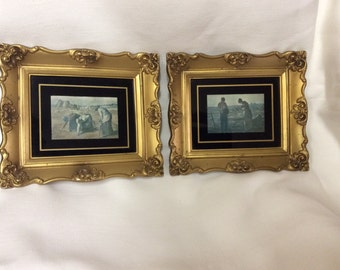 Gleaning Woman in a Field & The Angeles- Millet Framed