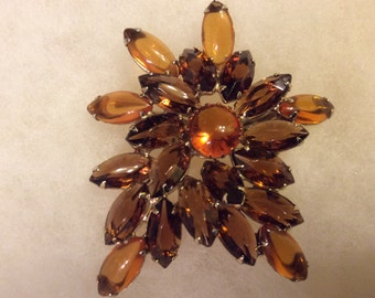 Large Amber and Brown Stones Starburst Style