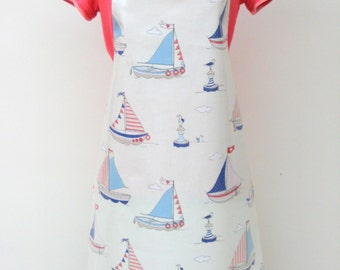 Sailboats and Seagulls - Print Adult PVC Apron, Oilcloth Apron, Waterproof Apron