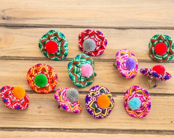 Hmong Flower Ring/Ethnic Acessory/colorful/Whole Sale