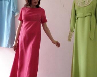Vintage 60s  Maxi Dress, Magenta Pink Empire Line Mad Men Maxi