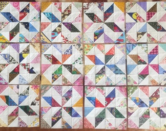 12 COLOR COLLECTION Scrappy Pinwheels Stars Quilt Top Fabric Blocks 100% Cotton Made in USA