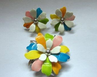 Sarah Coventry BROOCH Pin Earring Set PASTEL PETALS Enameled Flowers Vintage