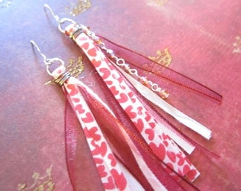Long Pink and Red Hearts Tassel Wire Wrapped Earrings TCJG