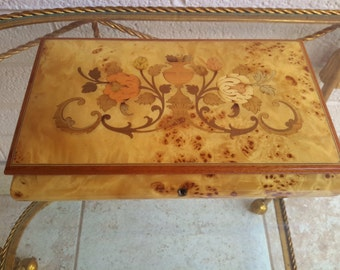 Vintage Italian Marquetry Wood Reuge Music Jewelry Box Lacquered Italy 1950's Plays You Light Up My Life
