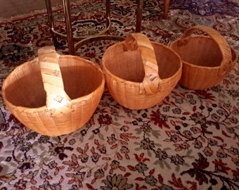 OAXACA HAND WOVEN Baskets Set of 3 Large Med Small Handled Vintage 70's Mexico Hand Crafted Indigenous Home Decor