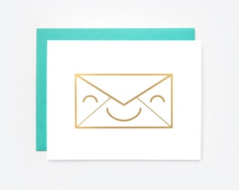 "Gold Foil ""Happy Mail"" Greeting Card"