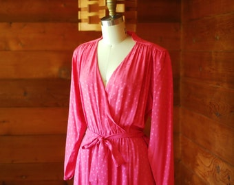vintage pink silk polka dot dress / size small medium
