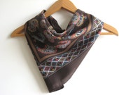 Vintage Scarf Chocolate Brown Paisley Designer Scarf Tie Up Head Scarf