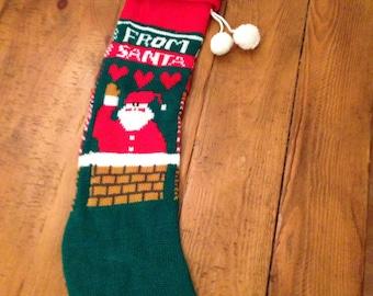 Retro Santa machine knit christmas stocking vintage from santa