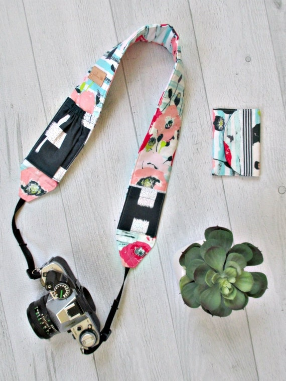 Camera Strap and Memory Card Case Gift Set. Pink Floral DSLR Strap with Navy Lens Cap Pockets. Photographer Gift. Gift for Her.