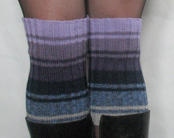 Boot Cuff Boot Toppers Leg Warmers Boot Socks Cable Striped Purple Violet Dark Blue Gray