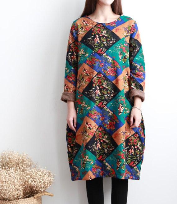 Winter dress Reverse plus velvet soft and comfortable Knee long dress