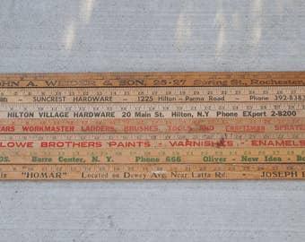 Vintage Advertising Wooden Yardsticks Assorted Mix of 7 Natural