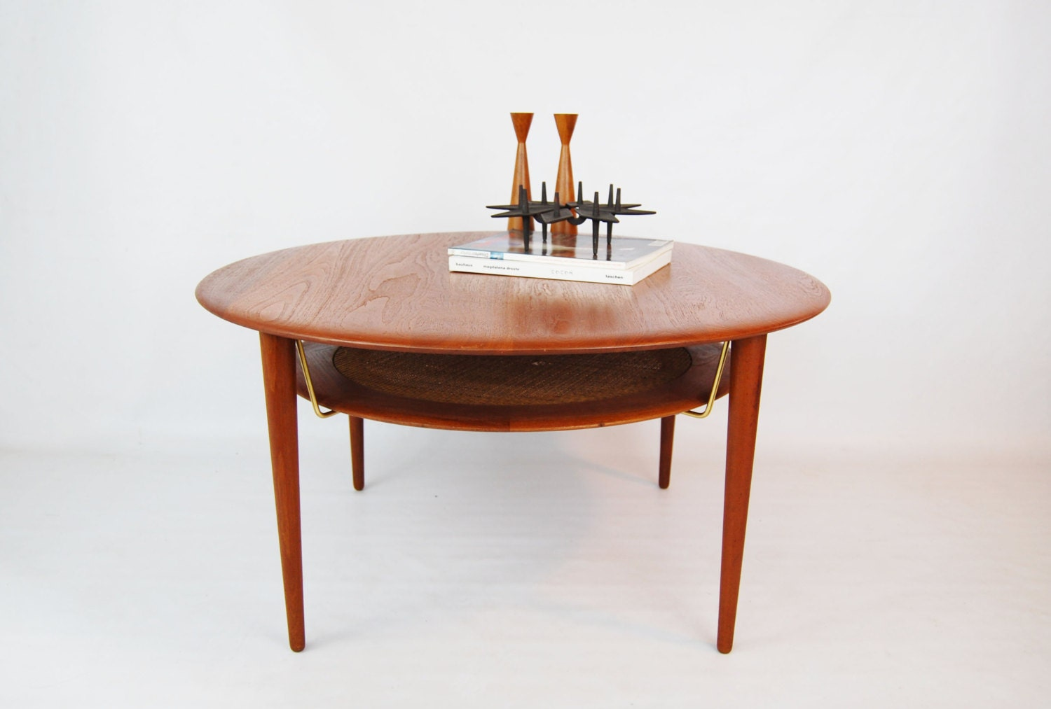 Sale danish modern teak round coffee table with magazine Modern teak coffee table