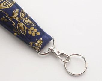 Fabric Keychain, Key Fob, Wristlet Lanyard, Floral Wristlet, Metallic Gold and Navy