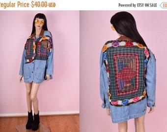 SUMMER SALE 90s Patchwork Denim Jacket/ Medium/ 1990s/ Floral/ Plaid