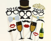 New Years Photo Booth Props 16 Piece Set - New Years Eve Decorations - New Years Photo Props - Wedding Party Favor