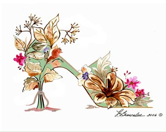 Cottage Chic Autumn Flower Shoe Print - Signed, Enhanced with Paint, FREE SHIPPING - Customize
