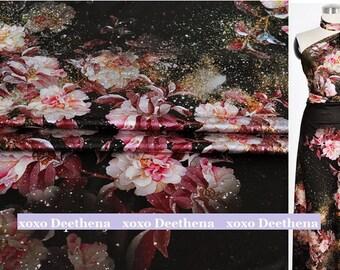 Stretchy Silk Satin Fabric ,cotton rose in snow , fashion design silk supplies