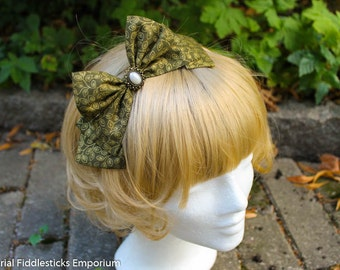 Olive Green Hair Bow with Gold Leaf Print and Pearl Cabochon - Headband OR Alligator Clip - Handmade