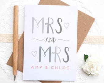 Mrs and Mrs Card - Personalised Wedding card - Wedding congratulations - Mrs & Mrs - Engagement card
