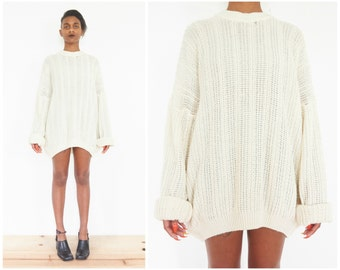 80s Off-White Loose Knit Fisherman Sweater / Oversize Jumper