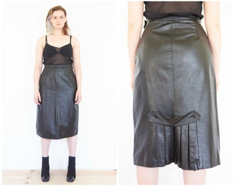 90s High Waist Black Leather Midi Skirt / Size Medium
