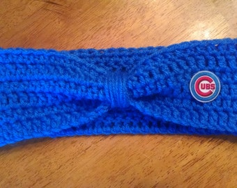 Crocheted Chicago Cubs Headband