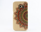 Natural Maple Wood Samsung Galaxy S6 case Painted Mandala Galaxy S6 cover - NWS6004
