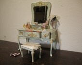 dollhouse miniature vanity table. with chair. vintage,