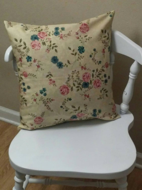 Shabby Chic Pillows Etsy : Items similar to Moda shabby-chic beige with roses pillow cover/ shabby chic pillow covers ...