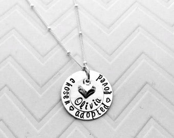 Adoption Hand Stamped Necklace - Gotcha Day Gifts - Personalized Adoption Jewelry - Personalized Gotcha Day Necklace - The Charmed Wife