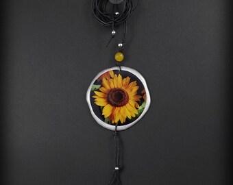 SUNFLOWER - long necklace with jade, BOHO pendant
