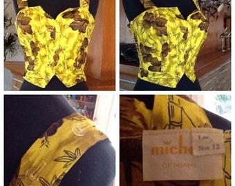 Michele of Miami Yellow Hawaiian Top - Medium